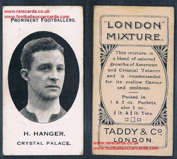 1914 London Mixture Taddy tobacco card of H Hanger Crystal Palace